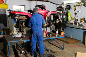 The Workshop at Winton Motorcycles hard at work